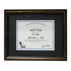 bowlingball.com Bronze Certificate Display Frame